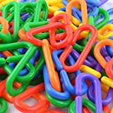 100 pcs Plastic C-clips Hooks Chain Links C-links Rat Parrot Bird Toy Cage