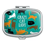 Crazy Cat Lady Teal Orange Black Brown Rectangle Pill Case Trinket Gift Box