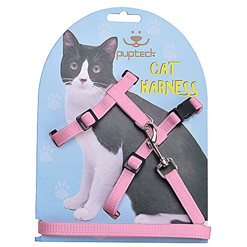 PUPTECK Adjustable Cat Harness Nylon Strap Collar with Leash 1