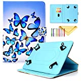 Cookk Uinversal Case Cover for All 9.5-10.5 Inch Tablet, iPad 9.7 Inch Case, Cover for Samsung Galaxy Tab 10.1/9.7 Tablet, Blue Butterfly