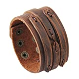 Jenia Handmade Wide Genuine Mens Leather Bracelet Bangle Cuff Brown