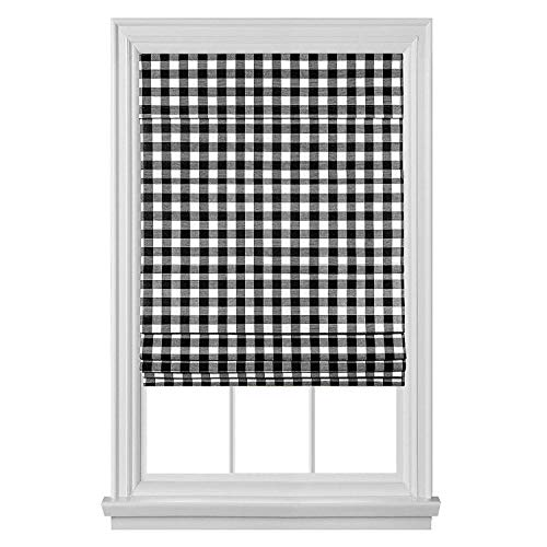 GoodGram Premium Cordless Retractable Buffalo Check Plaid Gingham Custom Roman Shades (31 in. W x 64 in. L Roman Shade, Black)