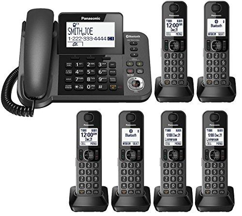 Panasonic KX-TGF383M plus three KX-TGFA30M handsets DECT 6.0 Plus Corded / Cordless 6-Handset Landline Telephone System (KX-TGF383M+3, KX-TGF382M+4, KX-TGF380M+5) (Renewed)