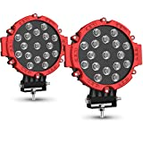 """2PACK 7"""" LED Offroad Pod Lights Bar 51W with Mounting Bracket, Red Round Spot Bumper Driving Lamp Headlight Fog Light for Offroader, Truck, Car, ATV, SUV, Jeep, Construction, Camping, Hunters"""
