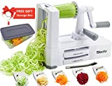 Vegetable Spiralizer Vegetable Slicer with 5 Blades- Zucchini Spaghetti Maker Zoodle Maker Veggie Pasta Maker, Strongest and Heaviest-Duty Mandoline Slicer with Container, Lid, Brush