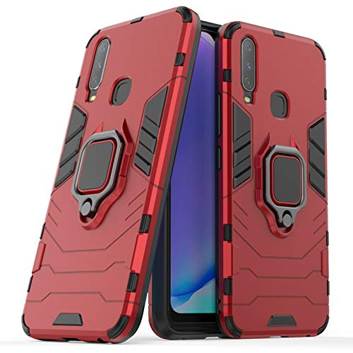 Soezit Kick Stand Metal Ring Holder Back Cover for Vivo Y12 (6.4 inch) (Red) 1