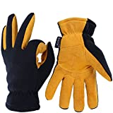 OZERO Winter Work Gloves Cold Proof Thermal Glove - Deerskin Suede Leather Palm and Polar Fleece Back with Heatlok Insulated Cotton - Hands Warm in Cold Weather for Women and Men - (Tan,M)