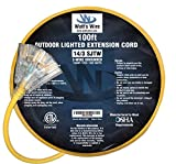 100-ft 14/3 Heavy Duty 3-Outlet Lighted SJTW Indoor/Outdoor Extension Cord by Watt's Wire - Long Yellow 100' 14-Gauge Grounded 13-Amp Three-Prong Power-Cord (100 foot 14-Awg)