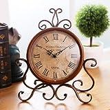 ECVISION European Style Retro Antique Retro Vintage-Inspired Wrought Iron Craft Table Clock For Hall,Shoe Cabinet,Restaurant,Bedroom Nightstand,Dresser,Garden Home Decor Desk Clock