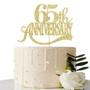 Gold Glitter 65th Anniversary Cake Topper – for 65th Wedding Anniversary / 65th Anniversary Party / 65th Birthday Party Decorations 51YN 2ByOaX4L