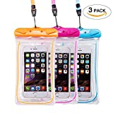 Universal Waterproof Phone Case of 3 Pack Set,Floating Pouch Night-Visible Smartphone Dry Bag for iPhone X/8/8 Plus/7/7 Plus/6S/6/6S Plus/SE/5S/5C,Galaxy S8/S8 Plus/Note 8 6 5, Pixel 2 up to 6.0