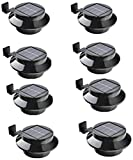 Falove 8pcgutterlight New Solar Light Lamp Powered Outdoor Garden Yard Wall LED Light Gutter Fence Wall Lampand and Bracket, Black, 8 Piece