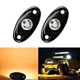 2 Pods LED Rock Lights, Ampper Waterproof LED Neon Underglow Light for Car Truck ATV UTV SUV Jeep Offroad Boat Underbody Glow Trail Rig Lamp (Yellow)