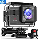 Victure 4K Action Camera 16MP WiFi with Remote Control External Mic Waterproof 40M/131ft Underwater Camera Sport EIS 170° Wide Angle 2×Rechargeable Batteries and Mounting Accessories Kits