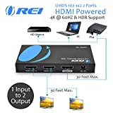 OREI UltraHD 4K @ 60 Hz 1 x 2 HDMI Splitter 1 in 2 Out 2 Port 4:4:4 8-bit - HDMI 2.0, HDCP 2.2, 18 Gbps