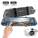 Mirror Dash Cam, 7' IPS Touch Screen [Adjustable Field of View] 1080P Front + 720P Rear View Full HD Dual Lens Dashboard Camera Car Video Recorder G-Sensor, Parking Assistance, Loop Recording