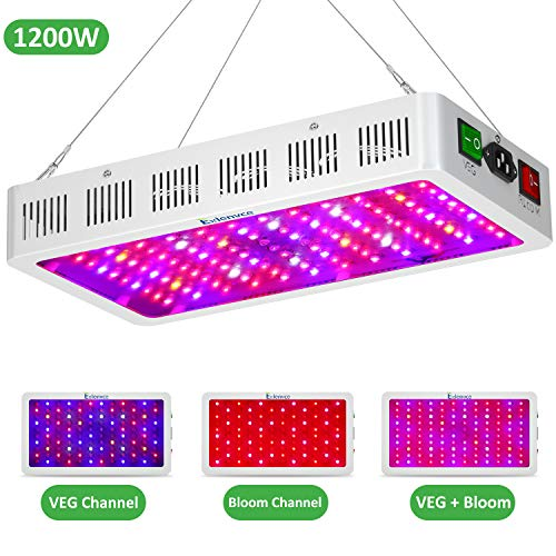 Exlenvce 1200W LED Grow Light with Bloom and Veg Switch, Daisy Chained Design LED Plant Growing Lamp Full Spectrum for Indoor Plants Veg and Flower (Triple-Chips 15W LED)