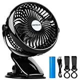 Antmona Battery Operated Fan, Clip on Fan, Portable / Rechargeable / Desk / Stroller Fan with 360 Degree Rotation, 2600mAh Battery for Baby Stroller, Car, Gym, Office, Outdoor, Traveling, Camping