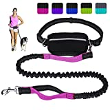 Hands Free Dog Leash for Running Walking Training Hiking, Dual-Handle Reflective Bungee, Poop Bag Dispenser Pouch, Adjustable Waist Belt, Shock Absorbing, Ideal for Medium to Large Dogs (Black W Pink)