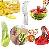 Aremazing Fruit Slicer Set of 4 Banana Watermelon Kiwi & Avocado Slicer Strawberry Huller Fruit Knife Kitchen Tools Value Pack
