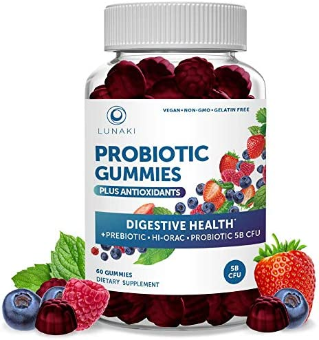 Lunaki Probiotic Gummies for Adults - 5 Billion CFU Probiotics and Prebiotic for Digestive Gut Health with Vitamin C for Women & Men - Non-GMO Vegan All Natural Immunity Detox Chewable Gummy 1
