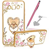 Galaxy J7 Case,Galaxy J7 Cover,ikasus Pink Butterfly Flower Glitter Bling Crystal Rhinestone Diamond Clear Rubber Plating Kickstand Soft TPU Bumper Case +Touch Pen Dust Plug for Galaxy J7 (2015),Gold