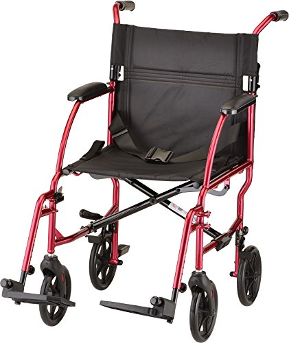 NOVA Ultra Lightweight Transport Chair, Weighs Only 18.75 lb, Compact for Travel, Red