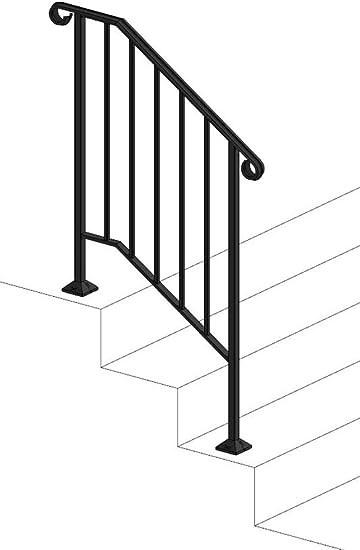 Iron X Handrail Picket 2 No Fasteners Amazon Com | Simple Handrail For Outside Steps | Wrought Iron Railing | Concrete Steps | Wood | Deck Railing | Stair Railings
