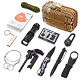 DLY Emergency Survival Kit 13 in 1- Outdoor Survival Gear Tool for Wilderness/Trip/Cars/Hiking/Camping Gear - Emergency Blanket, Flashlight, ect (Emergency Survival Kit SET1)