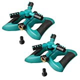 (2 Pack) Plemo Lawn Sprinklers, Automatic 360 Rotating Sprinklers for Garden, Adjustable Irrigation System with Three Arm and Metal Weighted Base, Brass Water Outlet