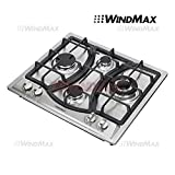 WindMax 23' Elegant Curve Stainless Steel 4 Burners Stove NG/LPG Gas Hob Cooktop Cooker