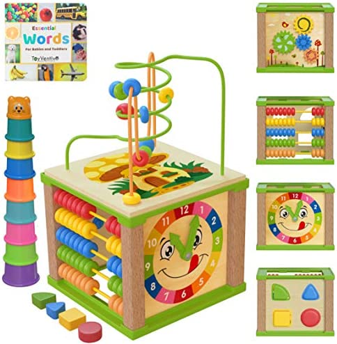 TOYVENTIVE Wooden Kids Baby Activity Cube – Boys Gift Set | One 1, 2 Year Old Boy Gifts Toys | Developmental Toddler Educational Learning Boy Toys 12-18 Months | Bead Maze, First Birthday Gift