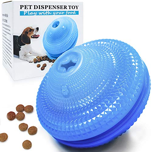 Dog Food Treat Dispenser Toys Flying Discs Shape Interactive Dog IQ Ball for...