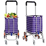 Folding Shopping Cart Grocery Utility Lightweight Stair Climbing Cart with Rolling Swivel Wheels and Removable Waterproof Canvas Bag [US Stock] (Removable Bag Included)