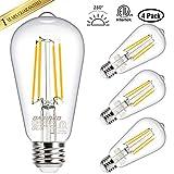 Vintage LED Edison Bulbs 60 Watt Equivalent, Warm White 2700K, ST58 Antique LED Filament Light Bulbs, E26 Medium Base, High CRI 98 Eye Protection Led Bulb, Non Dimmable, Clear Glass, Pack of 4