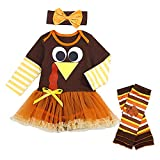 Thanksgiving Baby Girls Outfits Newborn Girl Romper with Tutu Dress and Leg Warmers Sets 3Pcs Clothes Set 9-12 Months Brown