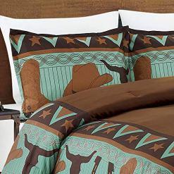 Cowboy Teal Western Bedding Set
