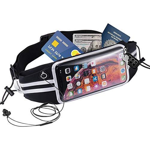 Newppon Running Belt Waist Bag : Fanny Pack & Money Belts for iPhone Xs Max XR XS X 8 7 6S Plus Samsung Galaxy S9 S9+ S8 S8+ Note 9 8 6 5 4 LG V50 40 Moto G E Waterproof for Sport Travel for Men Women