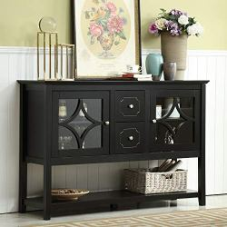 Mixcept 52″ Stylish Practical Sideboard Buffet Cabinet Wood Console Table Storage Cabinet with 2 Doors and 2 Drawers, Black