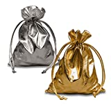 Anya Nana Set of 2 Metallic Mojo Bags 3x4 Bag - Gold+Silver