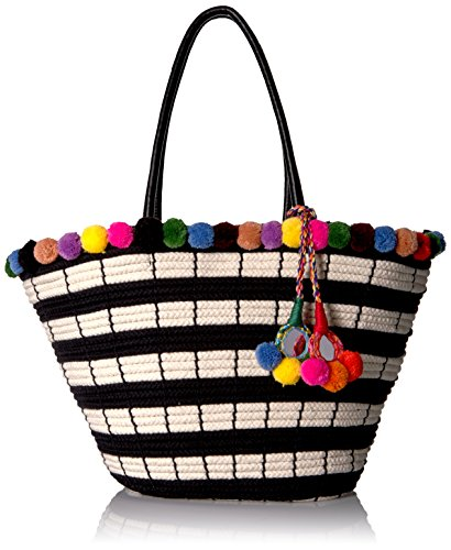 51YbisOYq L Large tote bag with striped basket-style woven body and multi-color pom-poms at top edge and tassel Pockets: interior slip, interior zip, exterior, ID windows, card slots