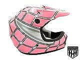SmartDealsNow DOT Youth & Kids Helmet for Dirtbike ATV Motocross MX Offroad Motorcyle Street bike Flat Matte Black Helmet (Medium, Pink Net)