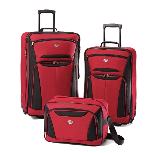 American Tourister Luggage Fieldbrook II 3 Piece Set, Red/Black