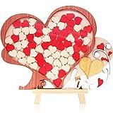 Creawoo Wooden Framed Wedding Guest Book Alternative Unique Heart Drop Box Design - Wedding Wood Guest Book Gift Idea