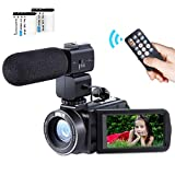 Camcorder Video Camera Full HD 1080P 24MP WiFi Digital Video Camcorder Besteker Remote Control Vlogging Camera for Youtube with 3' LCD Touch Screen Camcorder External Microphone 2 Batteries