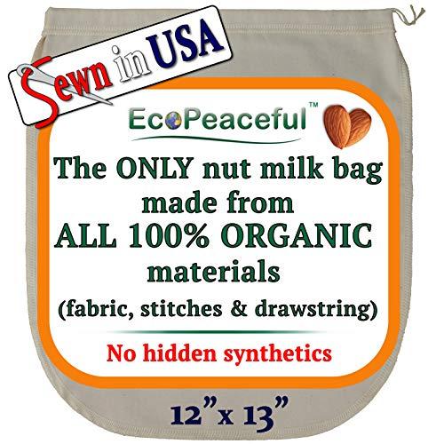 EcoPeaceful Nut Milk Bag - ALL 100% Organic Cotton (Fabric, Stitches &...