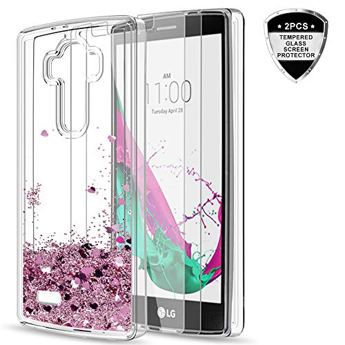 LG G4 Case with Tempered Glass Screen Protector [2 Pack] for Girls Women,LeYi Glitter Bling Moving Quicksand Liquid Clear TPU Protective Phone Case for LG G4 (5.5' inch) 2015 Release ZX Rose Gold