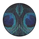 Sppmet Peacock Tail Round Area Rugs Beach Throw Tapestry Beach Blanket Circle Mats/Round Table Cloth Decor/Yoga Mat Meditation Picnic Rugs 60cm
