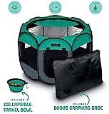 Ruff 'n Ruffus Portable Foldable Pet Playpen + Carrying Case & Collapsible Travel Bowl (Medium (29' x 29' x 17'))