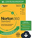 NEW Norton 360 Standard – Antivirus software for 1 Device with Auto Renewal – Includes VPN, PC  Cloud Backup & Dark Web Monitoring powered by LifeLock [PC/Mac Download]